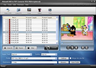 Nidesoft DVD to PSP Suite 2.3.56 screenshot