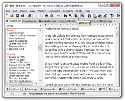 NoteTab Light 7.2 screenshot