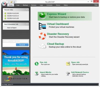 NovaBACKUP Business Essentials 17 screenshot