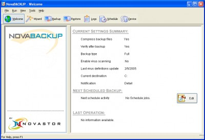 NovaBACKUP Server Edition 7.3.1.2 screenshot