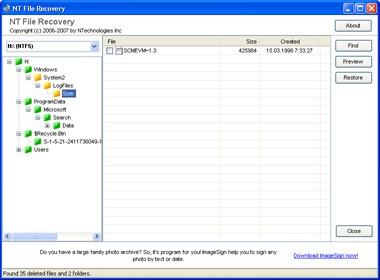 NT File Recovery for U3 Flash drives 2.0 screenshot