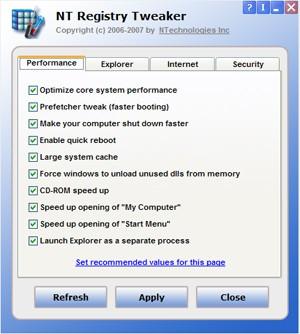 NT Registry Tweaker 1.0 screenshot