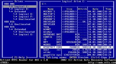 NTFS Reader for DOS 1.0 screenshot