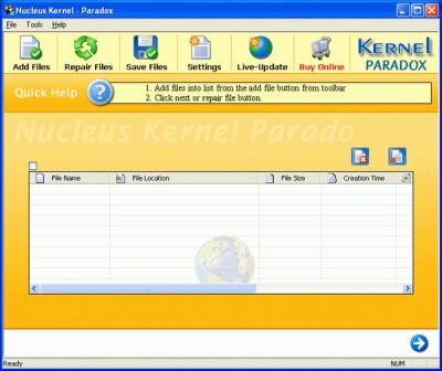 Nucleus Kernel Paradox Database Repair 4.03 screenshot