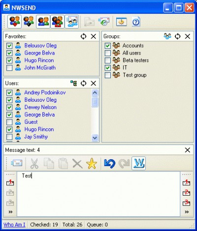 NWSend 5.0 screenshot