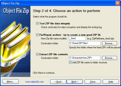 Object FIX ZIP 1.7 screenshot