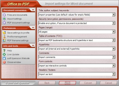 Office to PDF 1.0 screenshot