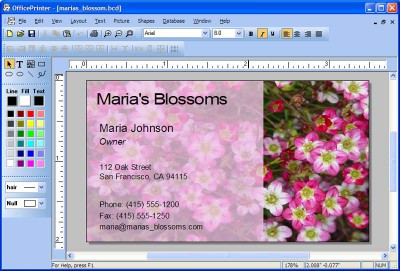 OfficePrinter Business Card Software 2.0 screenshot