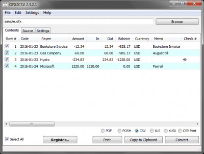 OFX2CSV 4.0.73 screenshot