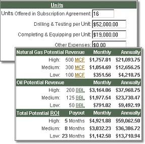 Oil & Gas Investment Calculator 2.2 screenshot