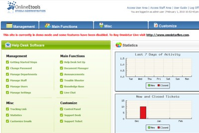 Omnistar Help Desk Software 8.2 screenshot