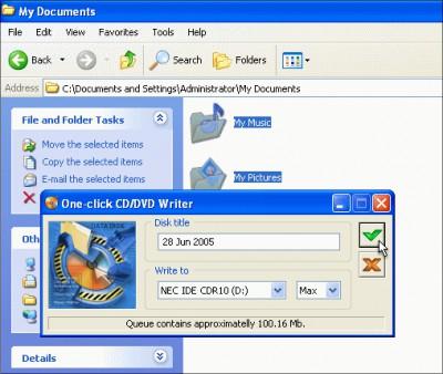 One-click CD/DVD Writer 1.4 screenshot