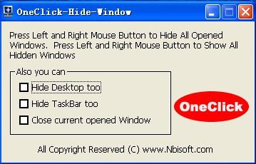 OneClick Hide Window 1.6 screenshot