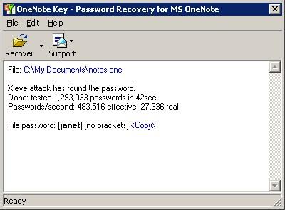 OneNote Password Recovery Key 7.1 screenshot