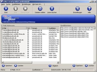 onl!ne email grabber professional 2.0 screenshot