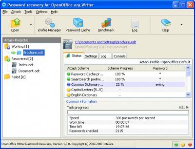 OpenOffice Writer Password Recovery 1.0.6 screenshot