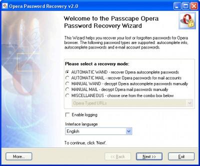 Opera Password Recovery 5.02 screenshot