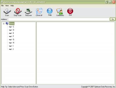 Optimum Data Recovery (NTFS Formatted) 1.0.0 screenshot