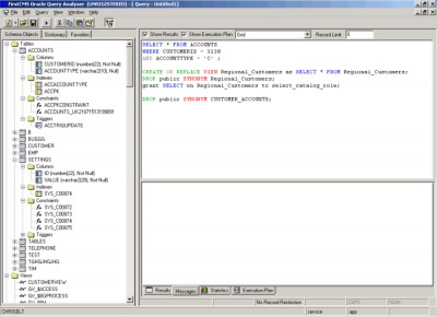 Oracle Query Analyser 2.0.3 screenshot