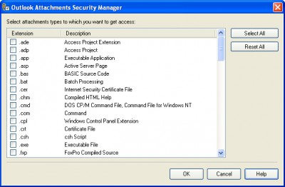 Outlook Attachments Security Manager 1.0 screenshot