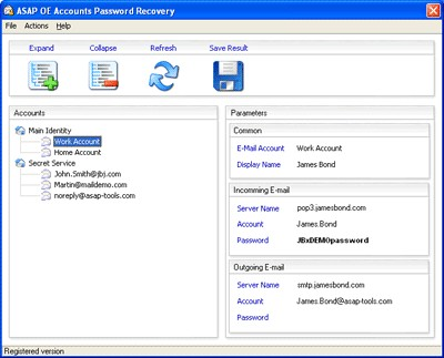 Outlook Express Accounts Password Recovery 2.1.8.5 screenshot