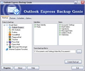 Outlook Express Backup Genie 1.6 screenshot