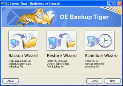Outlook Express Backup Tiger 1.2 screenshot