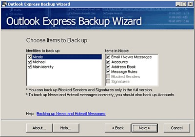 Outlook Express Backup Wizard 1.1 screenshot
