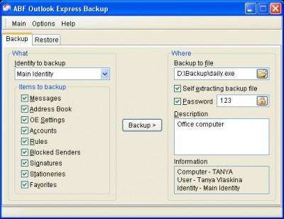 Outlook Express Backup 2.03 screenshot