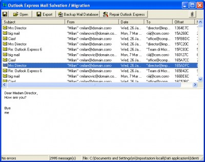 Outlook Express Mail Salvation Migration 1.1 screenshot