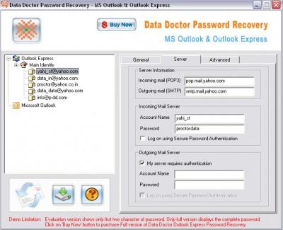 Outlook Express Password Recovery Tool 3.0.1.5 screenshot