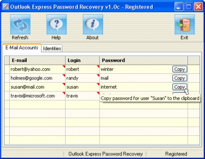 Outlook Express Password Recovery 1.0c screenshot
