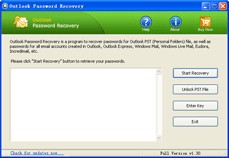 Outlook Password Recovery 1.8 screenshot