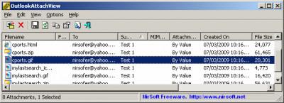 OutlookAttachView 3.26 screenshot