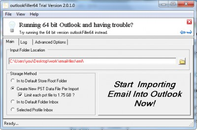 outlookFiller 2.0 screenshot