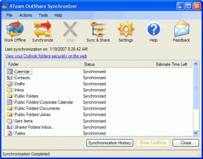 OutShare for Outlook 1.01 screenshot