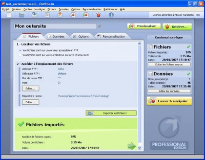 OutSite-In - Professional Edition 2.3 screenshot