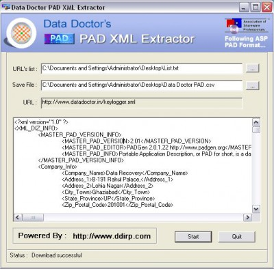 PAD Information Extraction Utility 3.1.6 screenshot