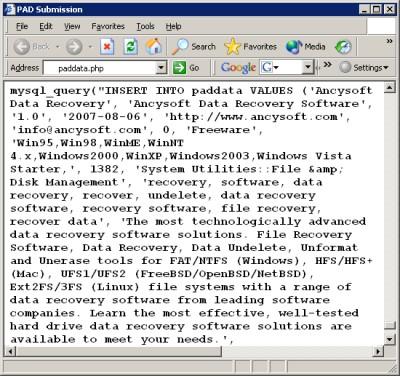 PAD Software Database 2.00.11 screenshot