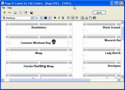 Page Of Labels for File Folders 2.90 screenshot