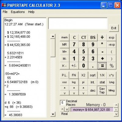 Papertape Calculator 3.1 screenshot