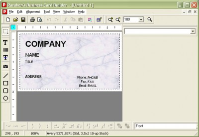 Paraben's Business Card Builder 6.0 screenshot