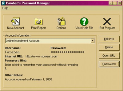 Paraben's Password Manager 2.1.2 screenshot