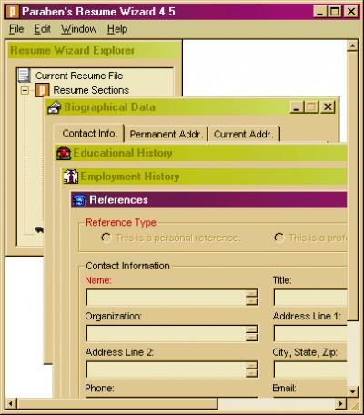 Paraben's Resume Wizard 5.0.3 screenshot