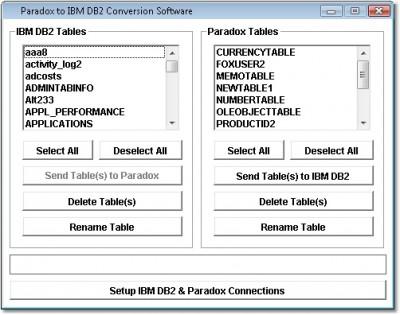 Paradox to IBM DB2 Conversion Software 7.0 screenshot