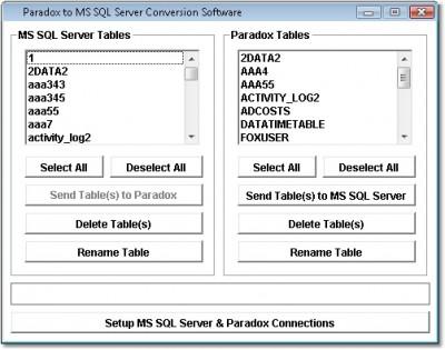 Paradox to MS SQL Server Conversion Software 7.0 screenshot