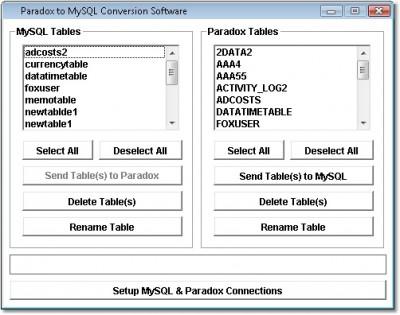Paradox to MySQL Conversion Software 7.0 screenshot