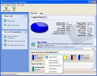 Paragon Disk Wiper Personal 8.5 screenshot