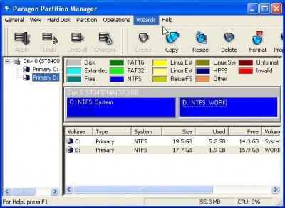 Paragon Partition Manager (Personal) 7.0 screenshot