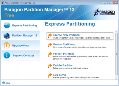 Paragon Partition Manager Free Edition 12 screenshot